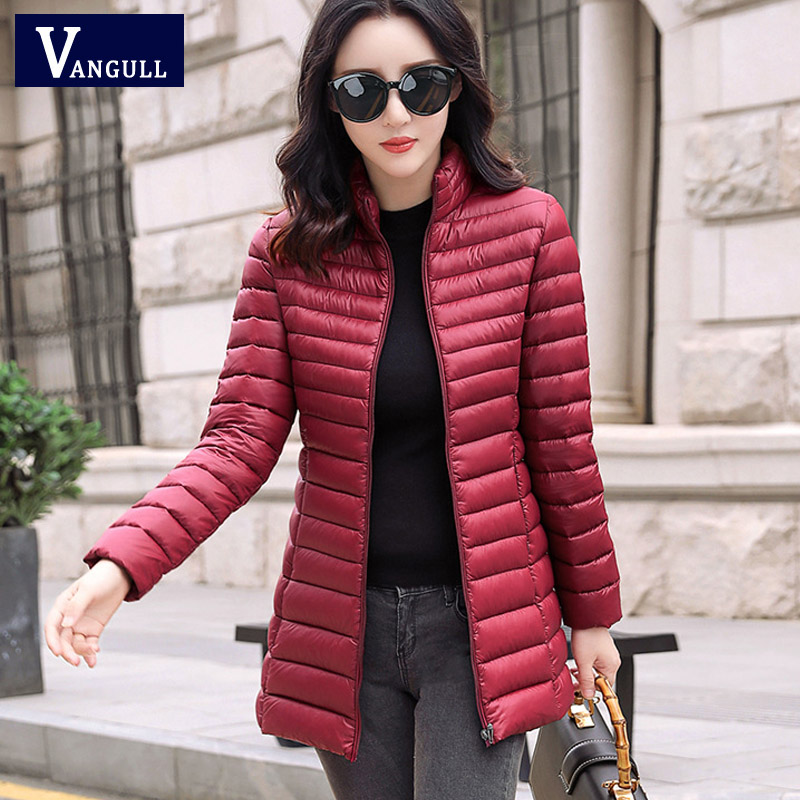 Vangull 2019 Autumn Winter Women Warm Basic Jacket Female Slim Hooded Brand Cotton   Parkas   Casual Plus Size Medium Long Coats