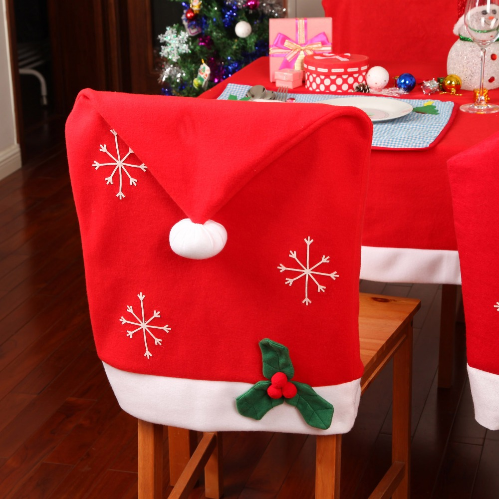 1 Pc Christmas Decoration Non Woven Snowflake Pattern Chair Covers Kitchen Dinner Table Decor