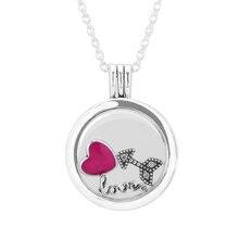 Día de san valentín del corazón flecha Petites Flotante Locket Medium Cristal Collar de Plata Esterlina y Colgante de Mujer Regalo Al Por Mayor