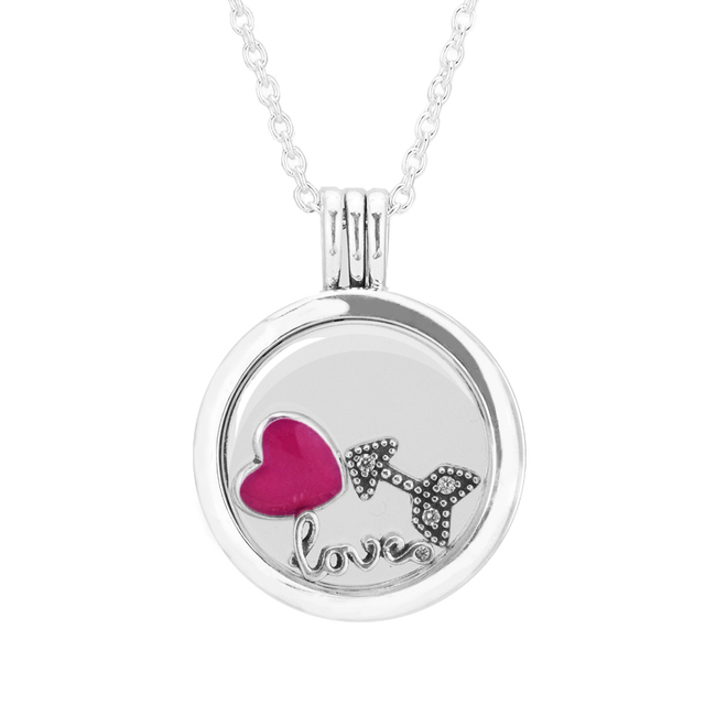 Valentine's Day heart arrow Petites Floating Locket Medium Crystal Glass Sterling-Silver Necklace & Pendant Wholesale Woman Gift