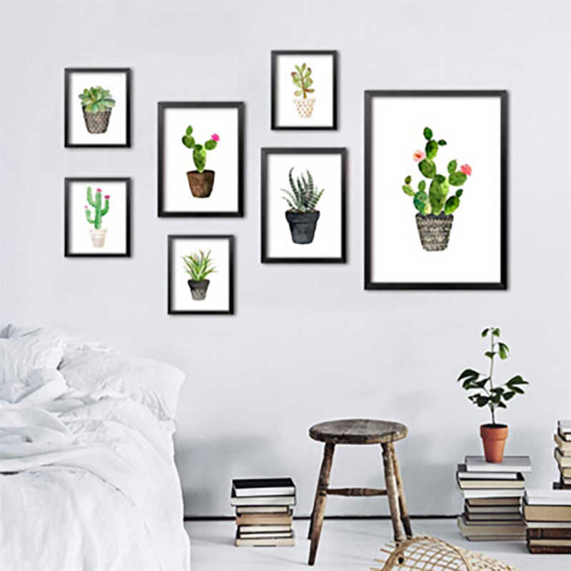 Nordic Watercolor succulent Green plant Canvas Art Print Poster, Cactus set Wall Paintings Modern Home Decor No Frame Painting