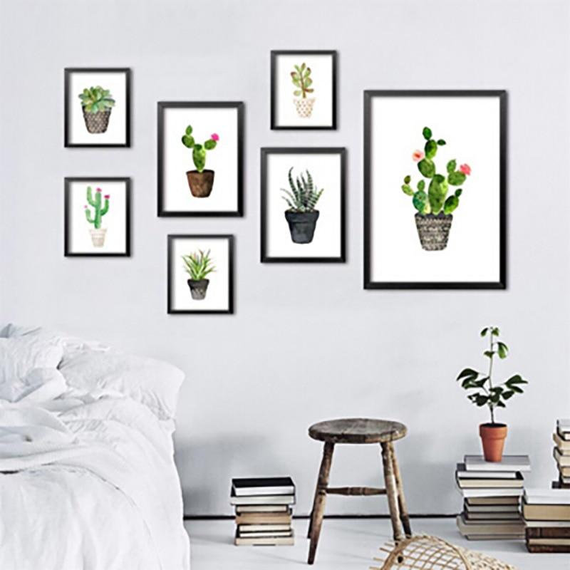 Nordic Watercolor succulent Green plant Canvas Umělecká reprodukce plakát, kaktusová sada nástěnné malby moderní bytová výzdoba bez rámování obrazů