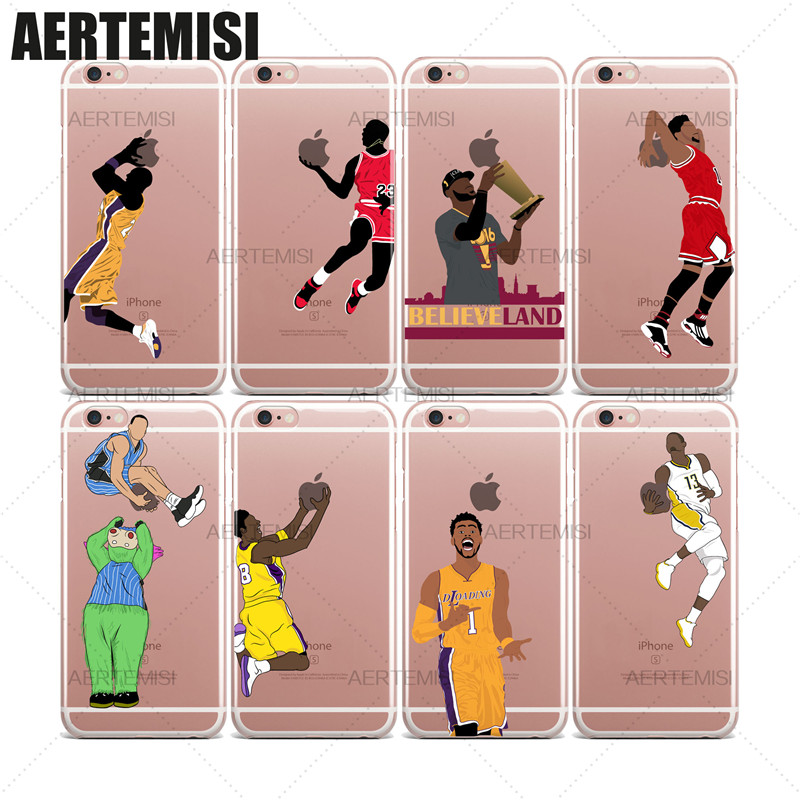 Phone Cases NBA Basketball Players Michael Jordan Paul George James Harden Clear TPU Case Cover for iPhone 5 5s SE 6 6s 7 Plus