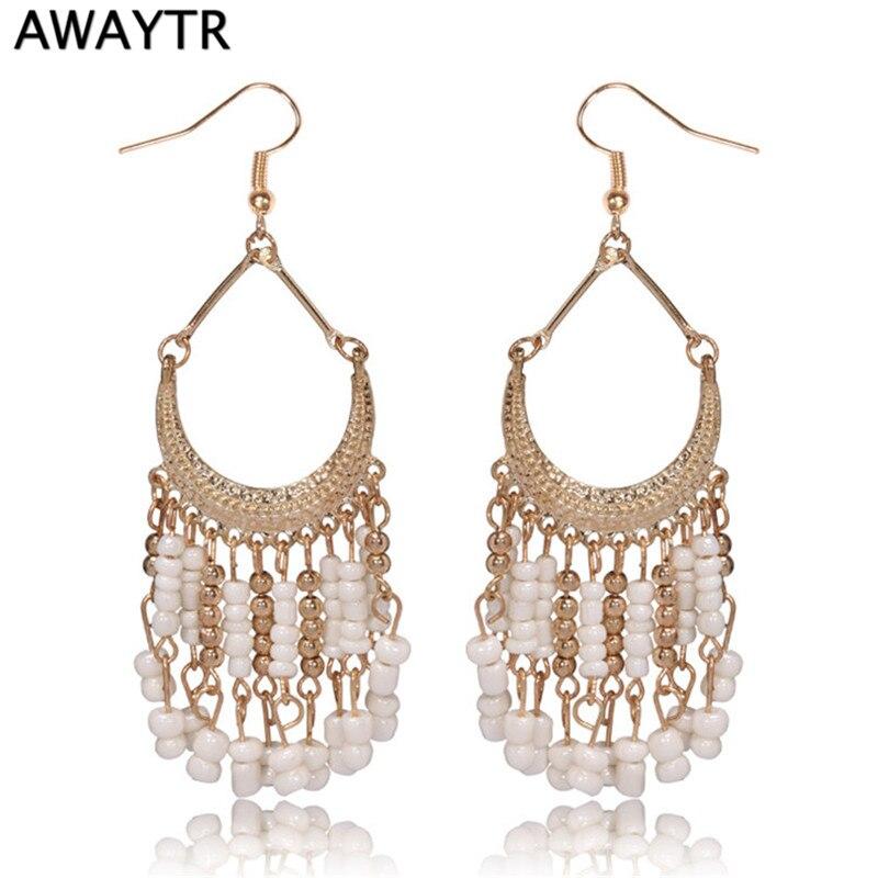 AWAYTR Summer Fashion Fine Jewelry Big Earrings with Beads Multicolor Large Long Drop Earrings Sapphire Jewelry Dangle Earrings