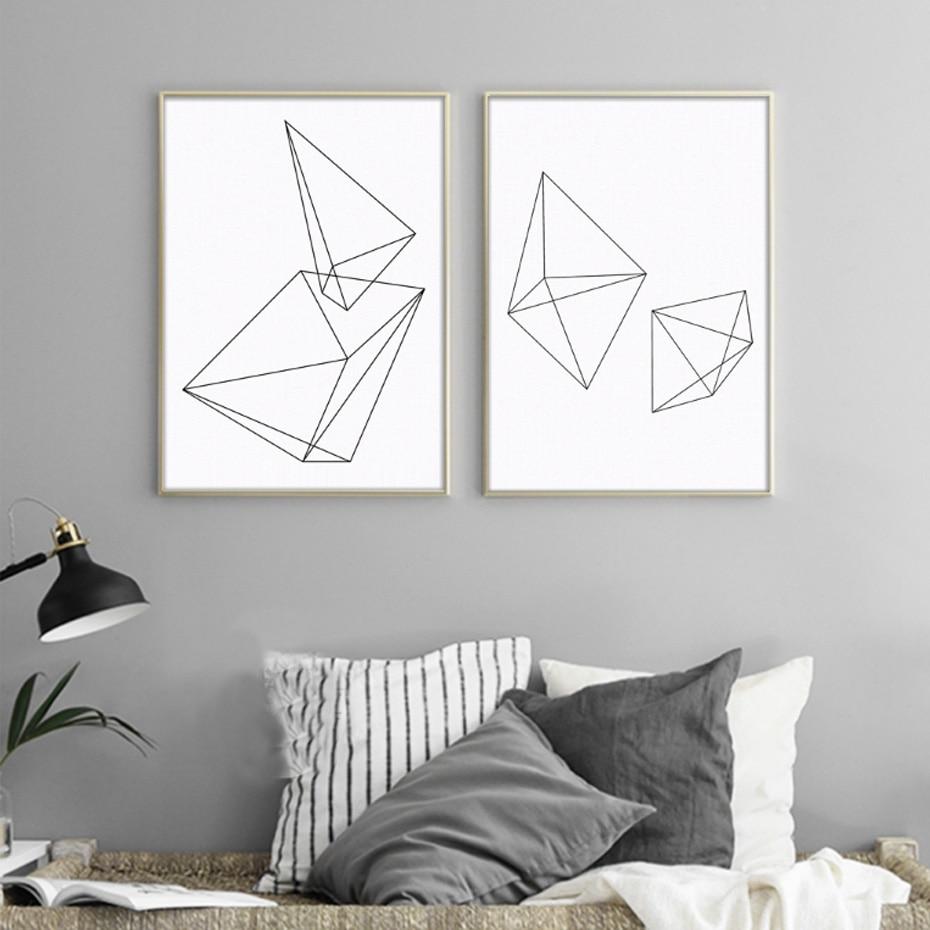 Минималистични геометрични триъгълни снимки Черни плакати Абстрактен рисунки на стена на платно за декор на всекидневната на офиса Без рамки