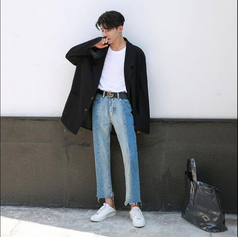 Made Korean version of the jeans men and young summer loose straight nine-cent edge pants. 2