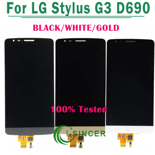 DHL 10/PCS White,Black,Gold LCD display screen touch digitizer Assembly For LG Stylus G3 D690