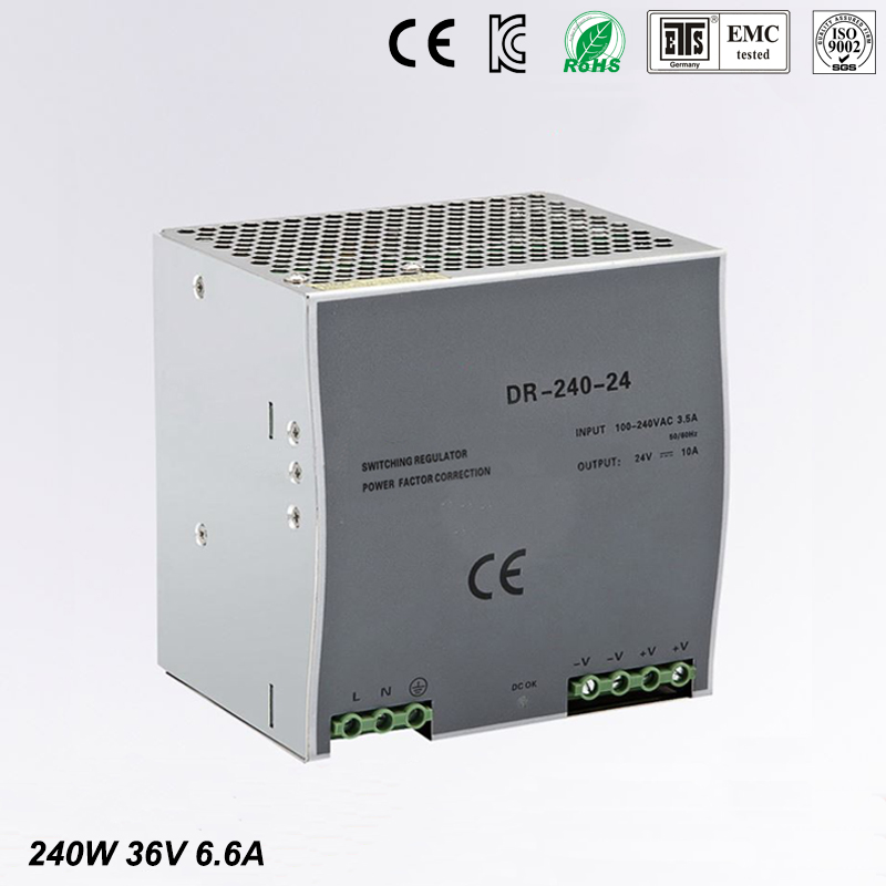 цена на 240w 36v 6.6a din rail model ce approved 240w DR-240-36 power supply rail din 36v with wide range input high quality
