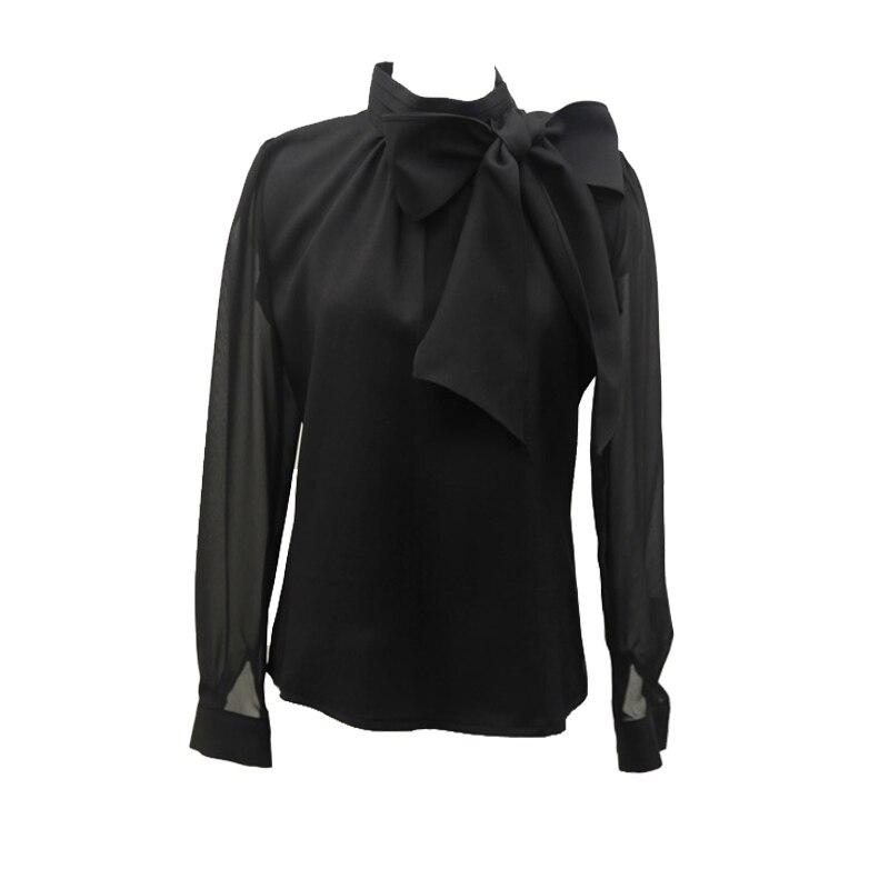 691cff55a 2019 جديد أزياء النساء قمصان بووتي طوق طويلة الأكمام بلون أنيقة OL بلوزة  شيفون فام Blusa