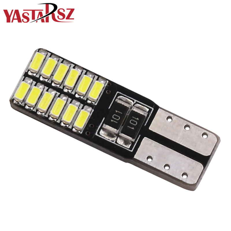 1pcs T10 W5W LED Canbus 194 168 Led Light Bulbs 4014 24 SMD Car Interiror reading dome lamps Parking Lights Car accessories t10 w5w 4 smd 1210 3528 dc12v 194 168 car wedge led lights 4led marker lamps auto reading dome bulbs 4smd