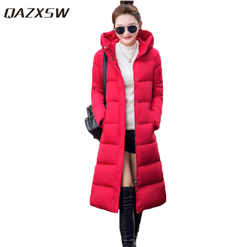 QAZXSW Women Winter Jacket For Woman Warm Outwear Plus Size Hooded Jacket X-Long Cotton Coat Thick Parkas Abrigos Mujer HB080 red stripe fur inside male coats winter wear keen warm elegant real raccoon fur collar cashmere fur parka