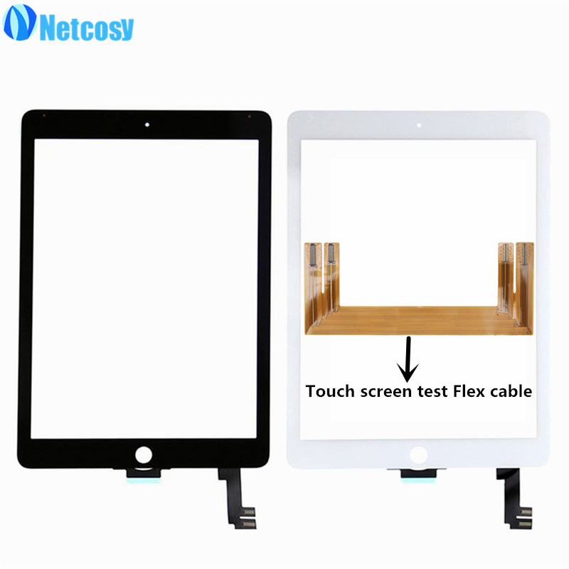 Netcosy Touchscreen For ipad Air 2 A1567 A1566 touch screen digitizer panel for ipad 6 Tablet touch panel & TP test flex cable new touch panel screen glass digitizer for korg pa500 m50 tp 3567s1 cable width 6mm