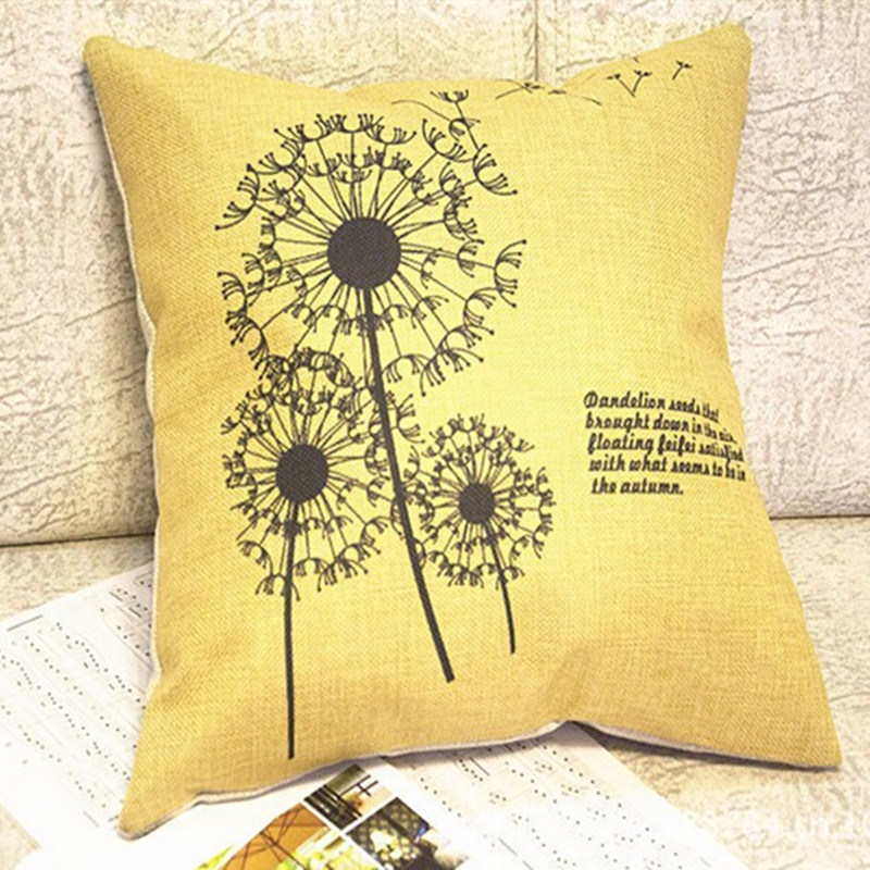 New Dandelion 45cm*45cm Square Sofa Cushion Cover Home Decorative PIllows Cover Baby Cojines