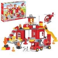 UMEILE 90Pcs City Urban Fire Station Building Blocks Kids Toys Educational Diy Fireman Brick Set Compatible with Duplo