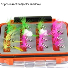 SPINPOLER 16pcs Butterfly Fly Fishing Lure 16pcs Insect Bait Dry Flies For Bass Salmon Trout With Waterproof Double Side Fly Box