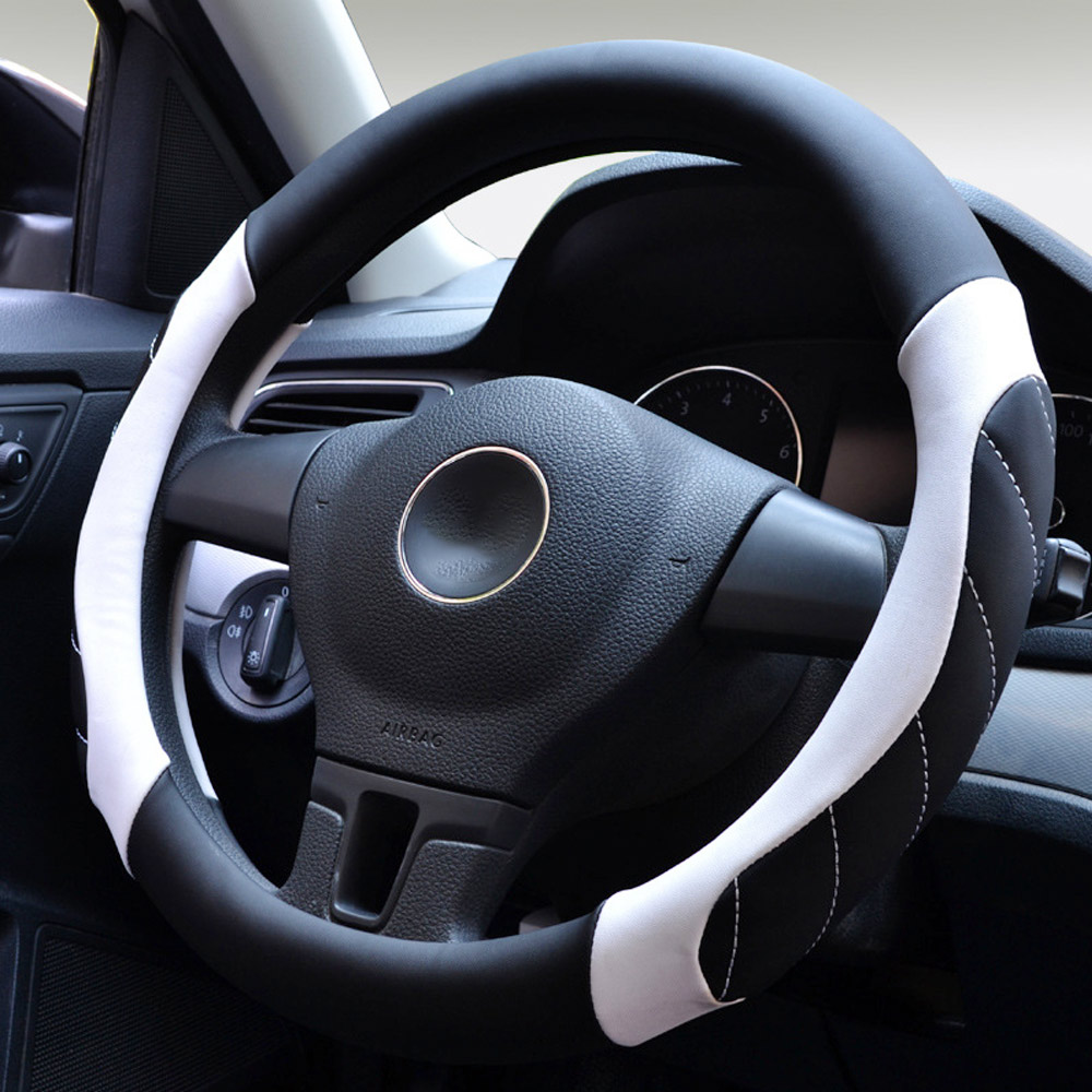 Auto Steering Wheel Cover 3 Colors 38cm Leather Steering Wheel Wrap By Micro Fiber Leather Universal Car Handlebar