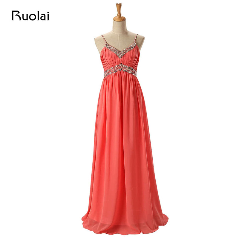 Real Image Cheap Coral   Bridesmaid     Dresses   Long Chiffon Straps Sequined Beaded Pleat Wedding Guest Party   Dress   Maid of Honor BM36