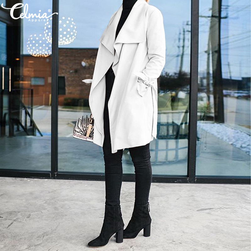 Autumn Women Casual Trench Celmia 2019 Winter Long Sleeve Slim Fit Overcoat Solid Jackets Ladies Long Coats With Belt Plus Size