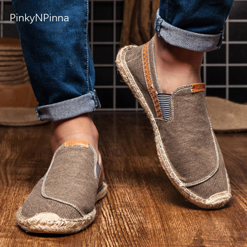 Pinky N Pinna Vintage Men's Casual Canvas Loafers Flat Hemp