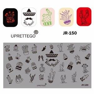 Image 5 - 2019 paslanmaz çelik tırnak yapıştırması şablon rus cümle Poker Vintage çiçek kaktüs meksika müzik notlar tırnak aracı JR141 150