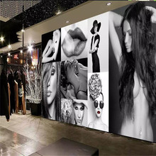 Custom mural professional production background wall cloth decorative painting - black and white sexy beauty