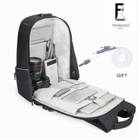 FRN Business Tripple Anti Theft Multifunction Backpack Bag Men PC Waterproof Polyester Rucksack 25L USb Charging