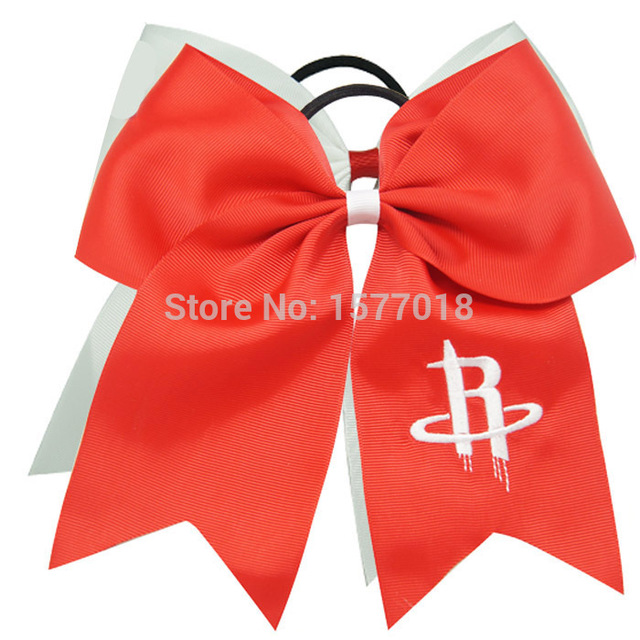 Solid Embroidery Houston Rockets Cheer Bow Polyeser Basketball Tire