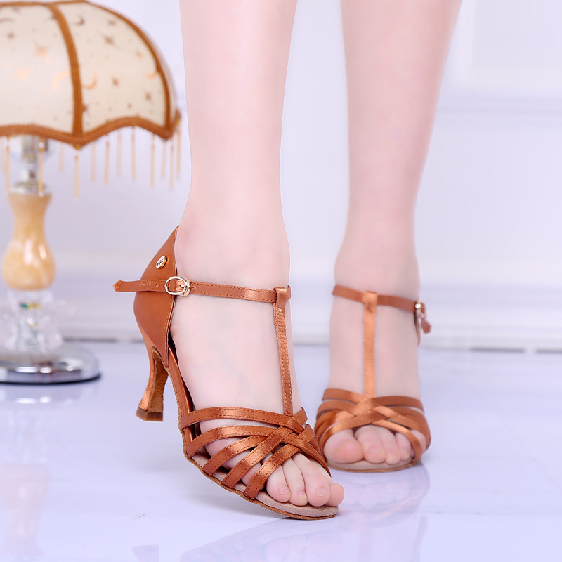 Dream shoes classic T strap zapato baile woman latino Brown Womens summer shoes latin tango dance shoes 4.5 5 square heel 6525