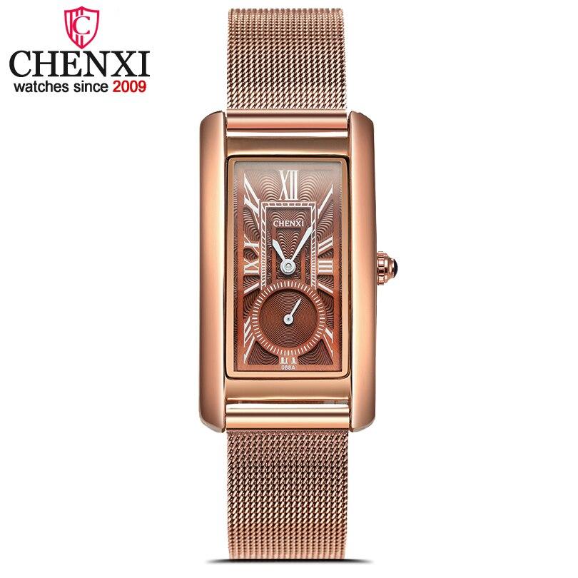 Dames de mode Montres Femmes Rose Or Maille En Acier Inoxydable Montres Élégant Minimalisme Casual Browen Femelle Étanche Horloge