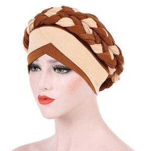 Image 5 - Muzułmanki mleczny jedwab podwójny oplot Turban Bonnet czapki czapka hidżab nakrycia głowy ochraniacz włosów chusta na głowę akcesoria do włosów