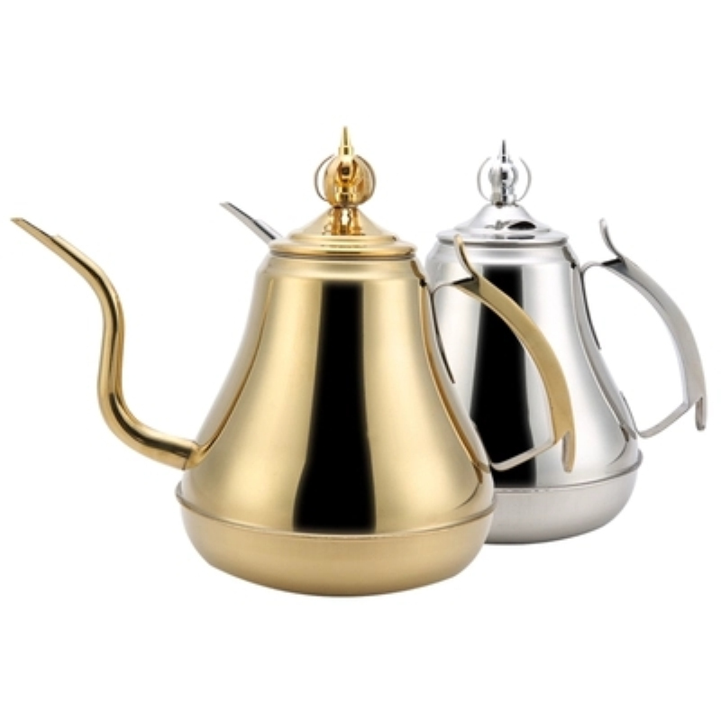 High Quality Stainless Steel Gold and Silver Color Tea Pot With Filter Hotel Restaurant Tea Kettle Water Pot 1.2L/1.8L