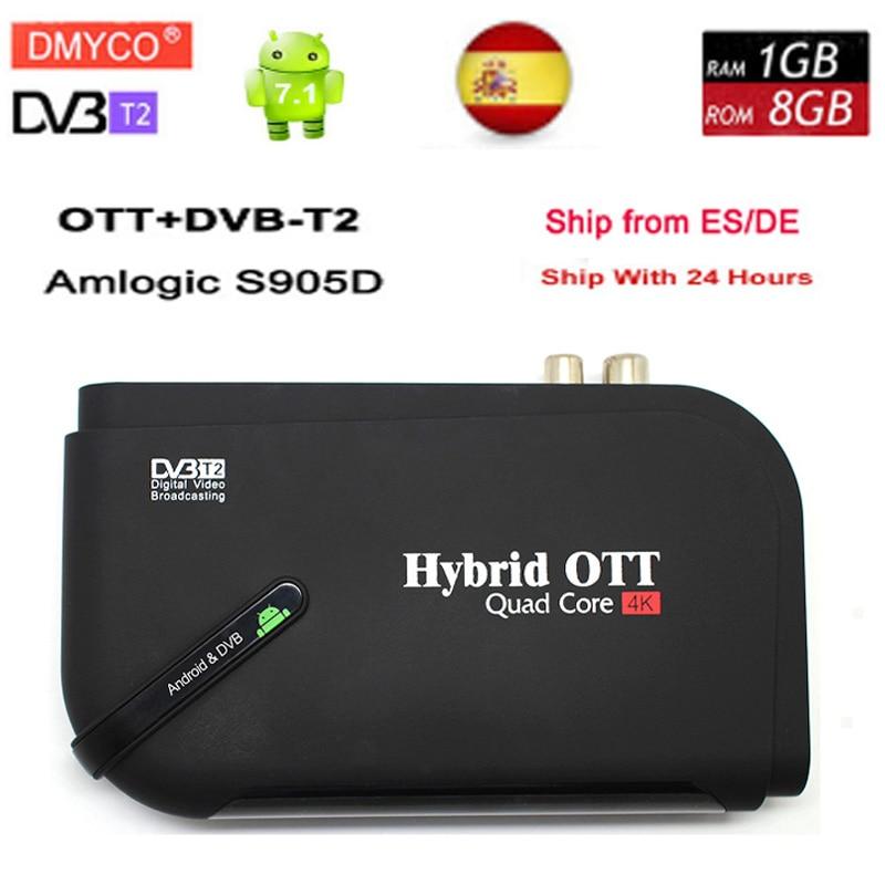 New arrival Android 7.1 tv box Amlogic Quad Core OTT/DVB-T2 Bluetooth 4.0 dvb-t2 TV DVB-T2 Satellite Receiver 4K Display TV box