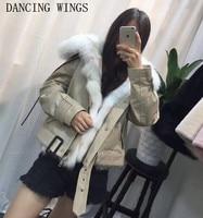 Короткий стиль натуральный Лисий Мех Лайнер зимняя куртка женская верхняя одежда натуральный мех с капюшоном пальто Толстые армейские зел