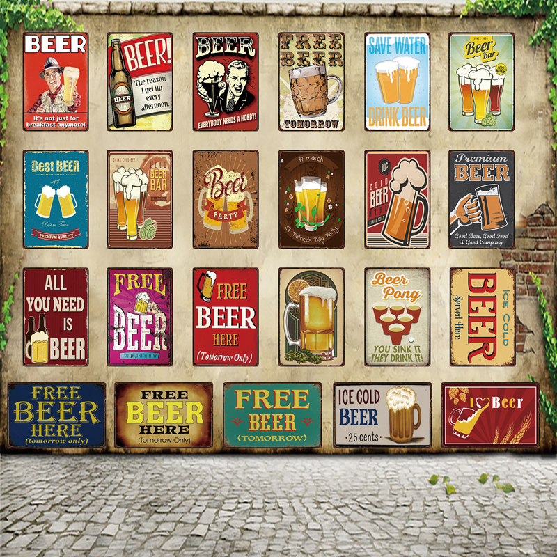 [ WellCraft ] Free Beer Tomorrow All You Need Is Served Here Metal Sign Posters art Vintage Mural Painting Custom Decor WW5