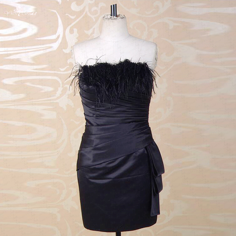 RSE749 Cheap Short Black   Dress   Vestido De Festa Curto Feather   Cocktail     Dress