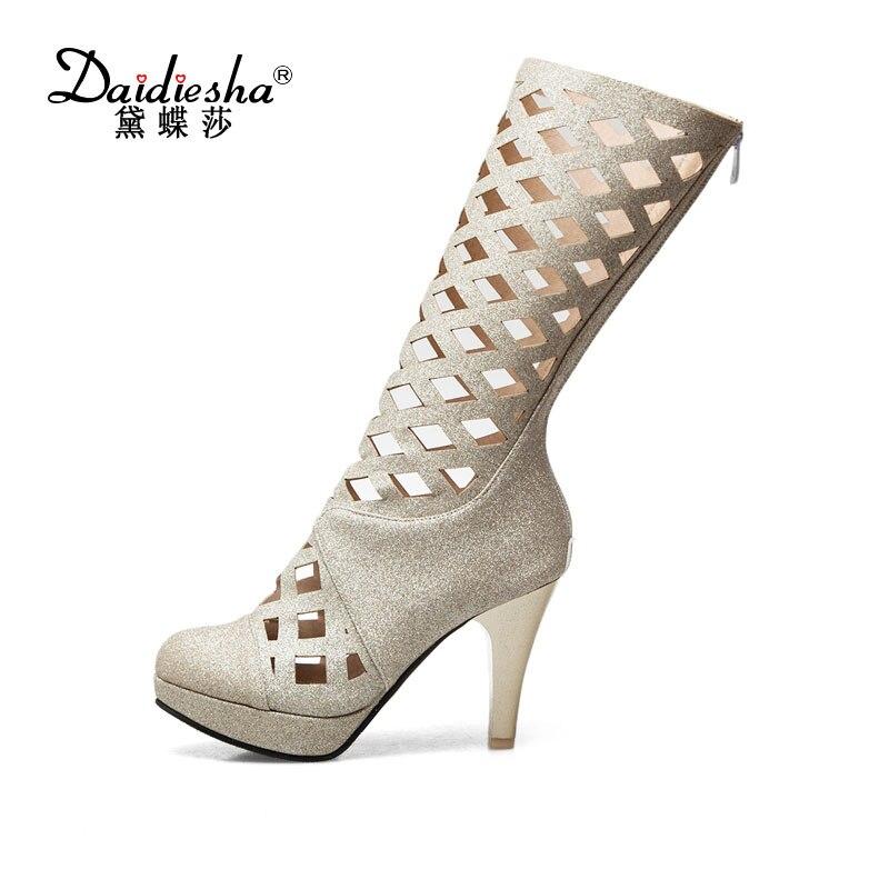 Daidiesha women Platform Sandals Summer Gladiator Sandals High-Heeled Boots designer Hollow Thick Heels Party lady Zip Sandals
