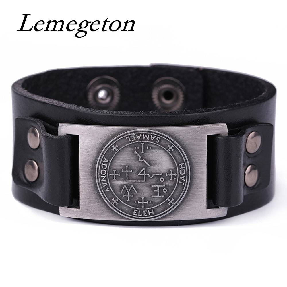 Lemegeton Archangel Pattern Pulseira masculina Amulet Pagan Leather Cuff Bracelets Adjustable man's Jewelry with Hide-clasp