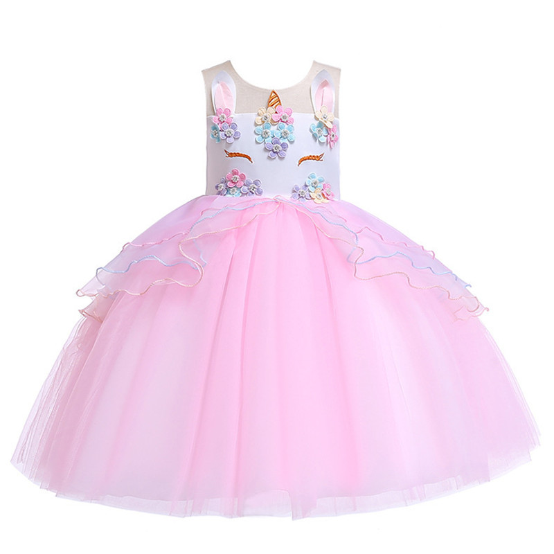 c7297fab6ca0 Girls Unicorn Dress Children Princess Costumes Toddler Little Girl Birthday Party  Ball Gowns Kids Bridesmaid Wedding Party Dress