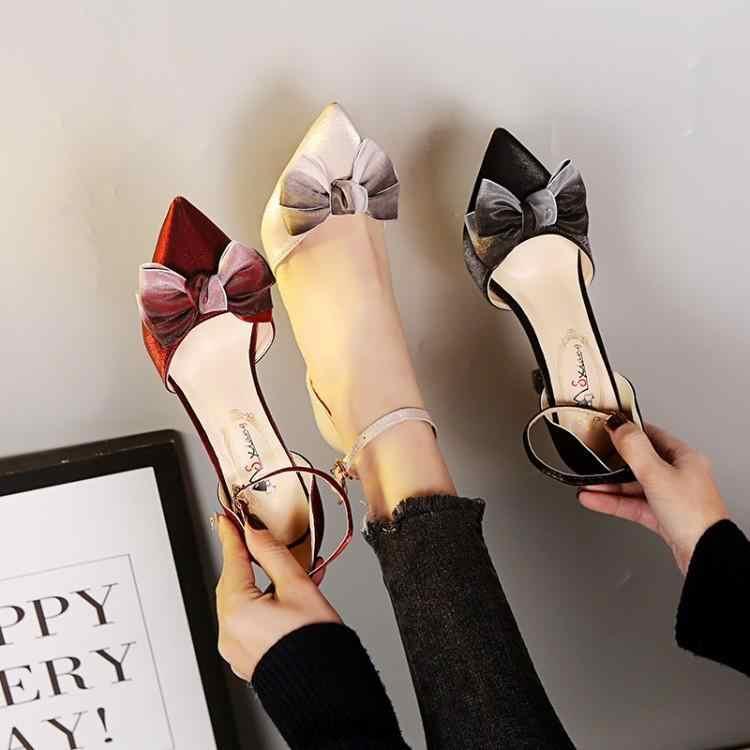 Новинка; сезон весна-лето; модные пикантные босоножки на высоком каблуке с острым носком и большим бантом; женские свадебные вечерние туфли-лодочки; модельные туфли