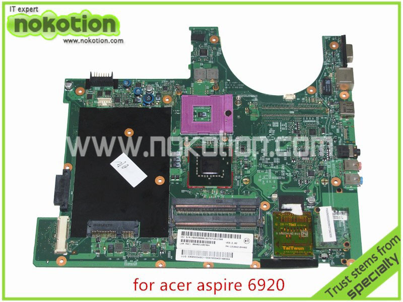 GENUINE PN 1310A2184402 For acer aspire 6920 6920G laptop motherboard intel 965GM DDR2 Without graphics slot Mainboard laptop motherboard fit for acer aspire 5551 5551g mbptq02001 mb ptq02 001 new75 la 5912p ddr3 mainboard