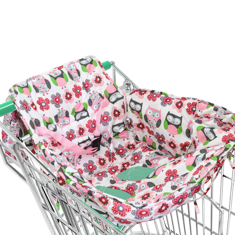 Baby shopping cart cover safety Kids Trolley Cushion Pad with Safety belt soft comfortable baby care chair seat mat portable printed baby child supermarket trolley dining chair protection antibacterial safety travel portable shopping cart cushion