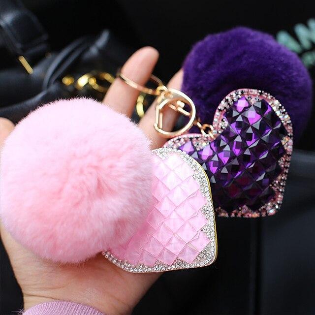 Moda Bonito 8 cm Fluffy Rabbit Fur Pompom Pom Pom Keychain Strass Coração Chaveiro Llavero Chaveiro Pingente Charme Bag presentes