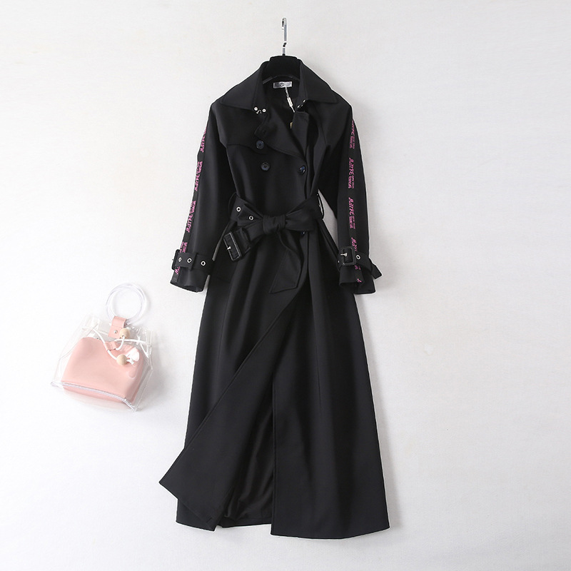 Adjustable belt slim waist trench coat women long style turn down collar coats 2019 new autumn winter