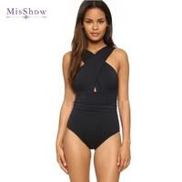 MisShow 2018 New Solid Cross Halter One Piece Swimsuit Sexy Backless Black Red Women Swimwear Bathing