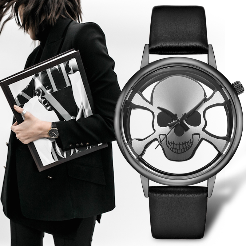 GEEKTHINK Hollow Skull Design Fashion Brand Quartz Watch Women Ladies Casual Street Leather band Clock Female Girls Trending