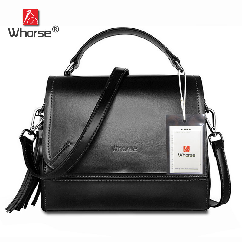 [WHORSE] Luxury Designer Handbags High Quality Famous Brand Tassel Women Handbag Genuine Leather Hand Bag Messenger Bags W08560 [whorse] brand luxury fashion designer genuine leather bucket bag women real cowhide handbag messenger bags casual tote w07190