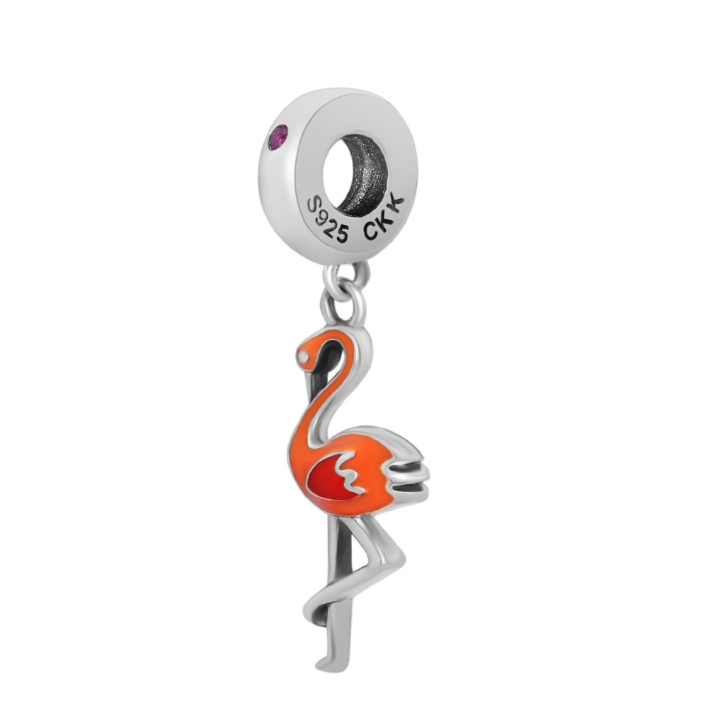 CKK Fits For Pandora Charms Bracelets Orange Flamingo Beads 100 925 Sterling Silver Jewelry in Charms from Jewelry Accessories