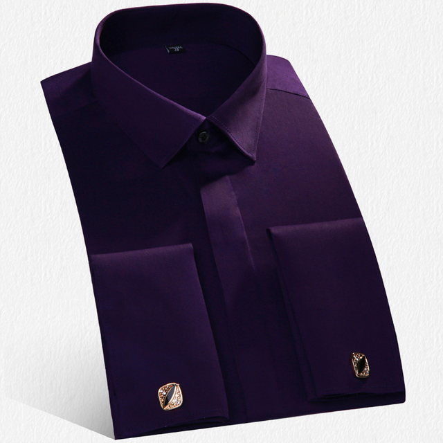 Brand Luxury Men Shirts Male Long Sleeve French Cufflinks Dress Shirt Men Slim Tuxedo Shirts Wedding camisa social masculina