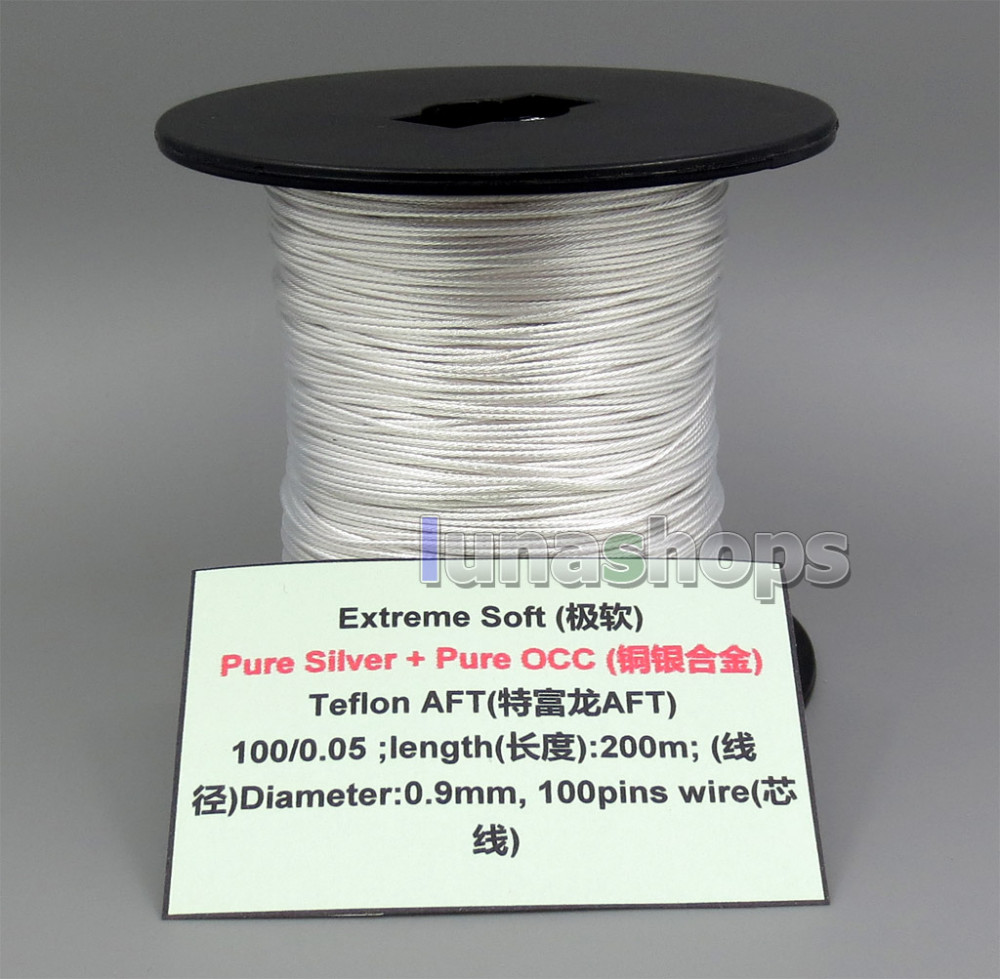 10m Extreme Soft Pure Silver OCC Alloy Signal Teflo AFT Earphone Headphone Cable 100 0 05