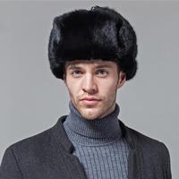 الطبيعية السوداء أرنب الفرو الحقيقي الرجال الشتاء الفراء النسائية منفذها كاب حقيقية روسيا نمط الدافئة سنو قبعات مع اللوحات الأذن